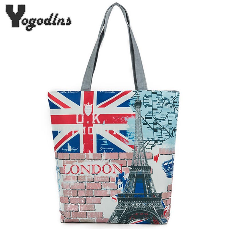 New Arrival Vintage Zipper Bags For Shopping Women Shoulder Bags Women Printing Handbags Fashion London Tower Simple Style(China (Mainland))