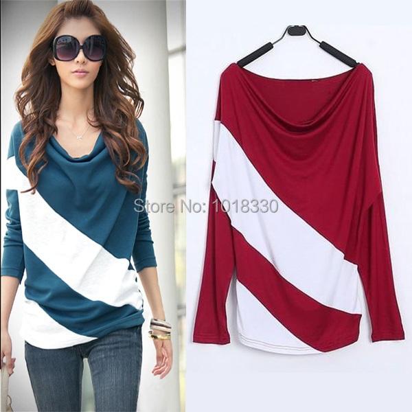 2015 Plus Size casual women blouses Striped Long Sleeve Knitwear cotton Pullover Ladies Blouse shirts blusas femininas M-XXXL - Simple Men store