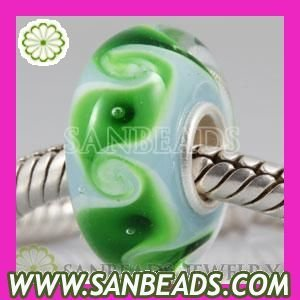 Free Shipping! 5pcs/lot  2012 New Fashion Environmental murano glass bead with 925 sterling silver core in foil color