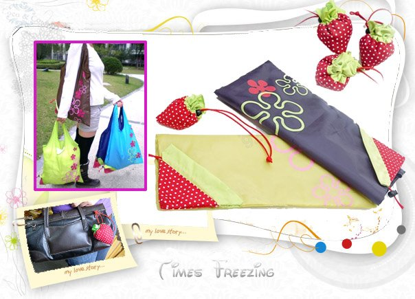 Cute Strawberry Reusable Compact Foldable Durable Grocery Shopping Shoulder Tote Bag Case  -  Kangta Xie's store store