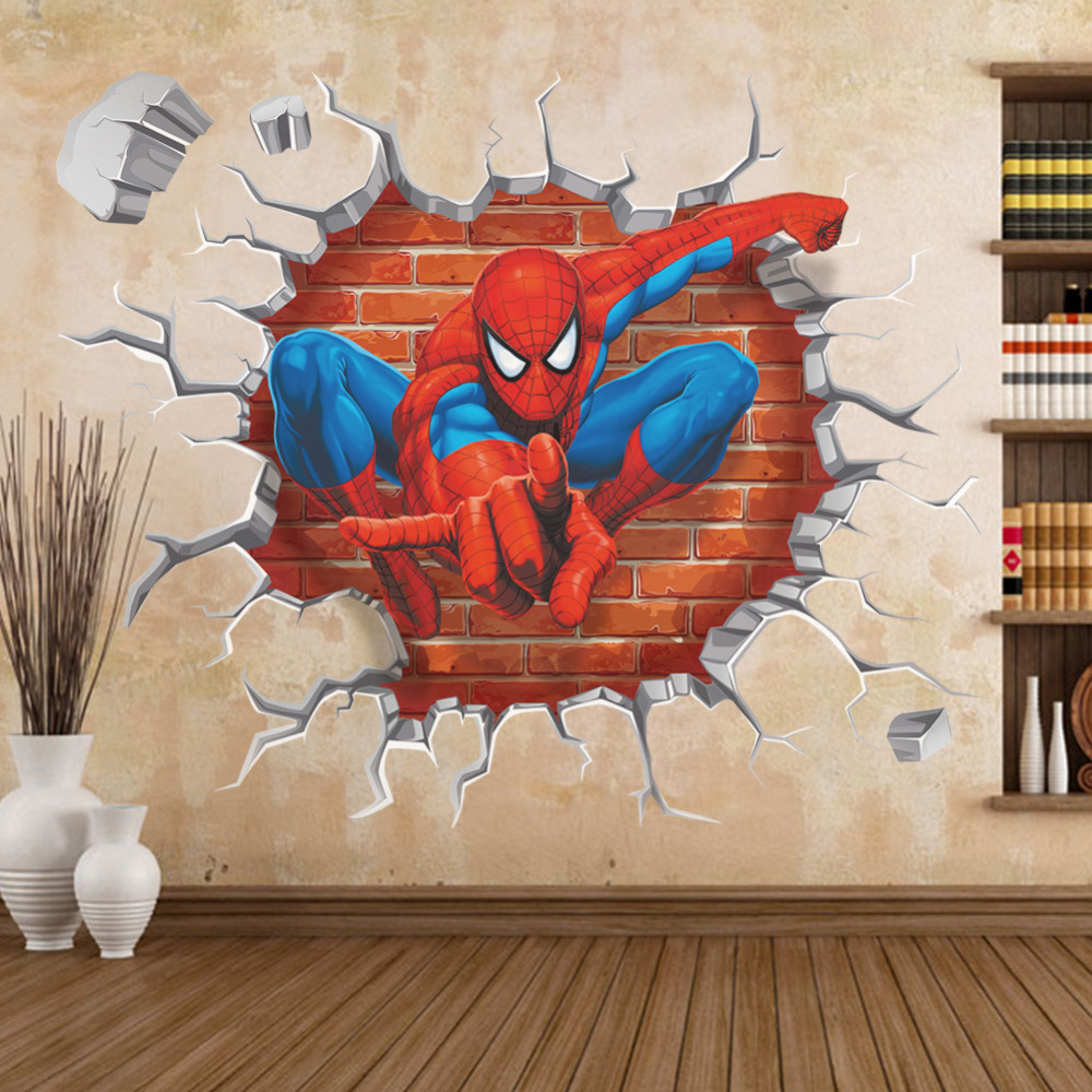 3d spiderman through wall stickers for kids rooms breaking gallery for gt lego wall decals for kids rooms
