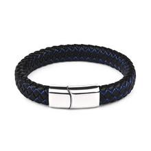 Jiayiqi новые мужские украшения панк черный синий плетеный кожаный браслет для мужчин магнитный браслет со стальными элементами модные брасле...(China)