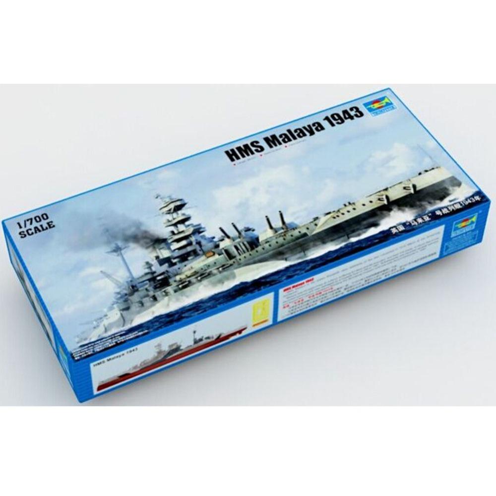 1x High Quality Trumpeter 1/700 HMS Malaya 1943 Battleship Model Kit Model Toys(China (Mainland))