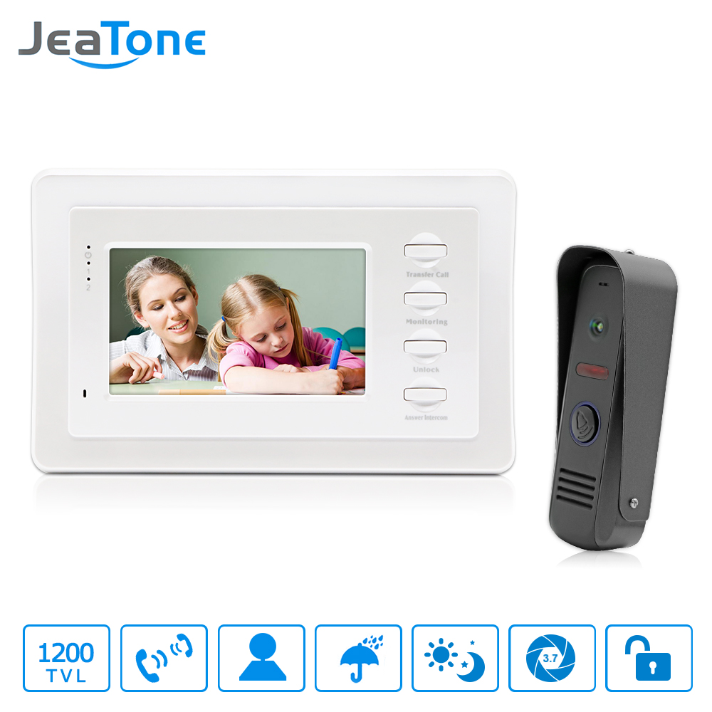 "JeaTone 7"" White Color HD Video Doorphone Door Entry Intercom Systems 1200TVL Outdoor Doorbell Camera+ 1 LCD Monitor(China (Mainland))"
