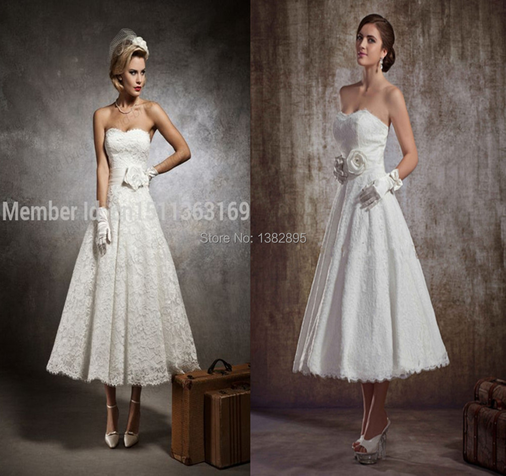 Golden 39 s cheap in stock white ivory lace vintage tea for Cheap short white wedding dresses