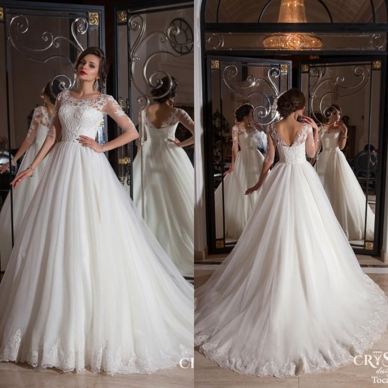 Buy half sleeves sheer vintage ball gown for Vintage open back wedding dresses