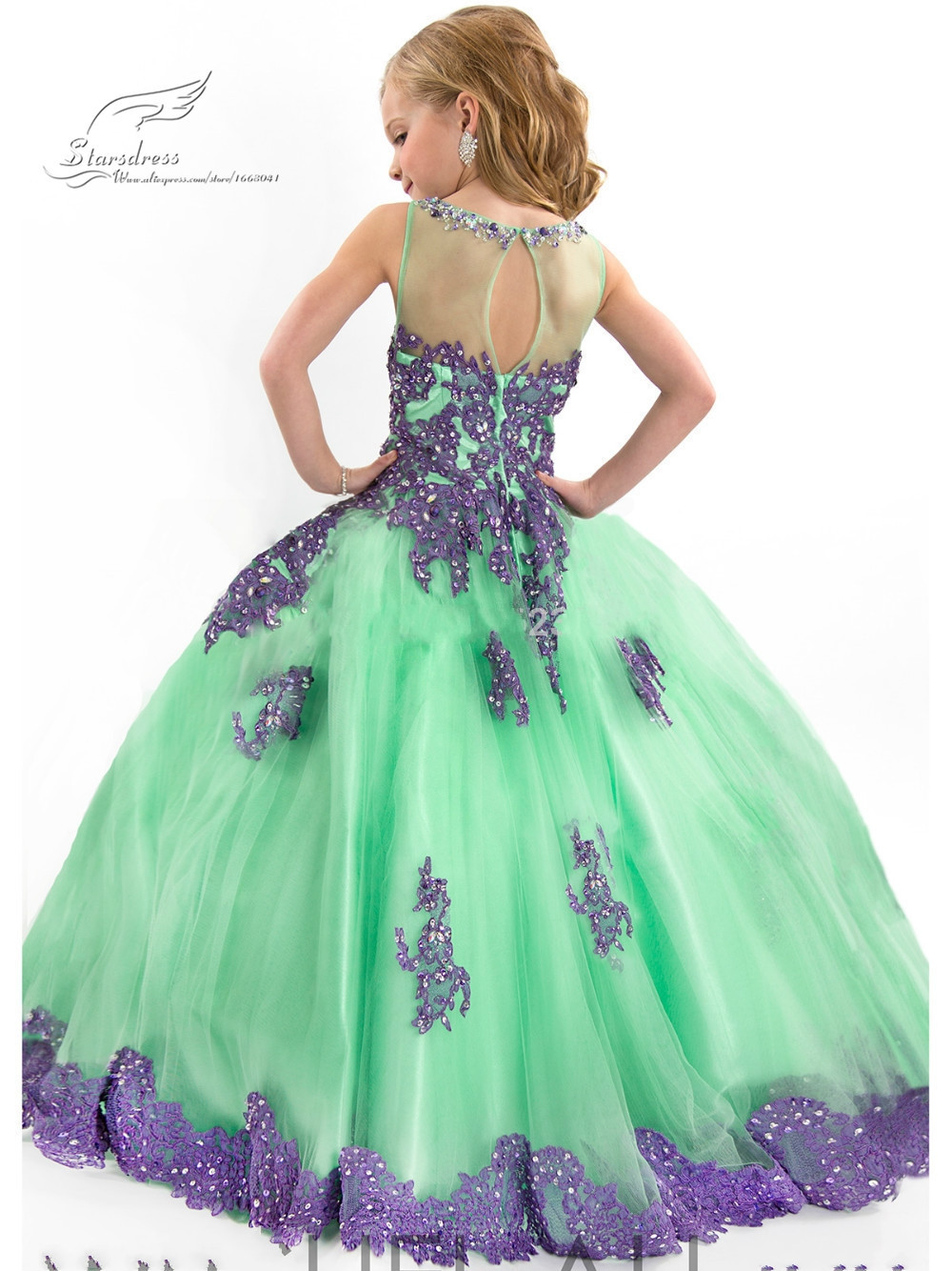 2015 New Arrival Little Girl Ball Gown Scoop Appliqued Glitz Pageant 2016 Flower Girls Dresses Long