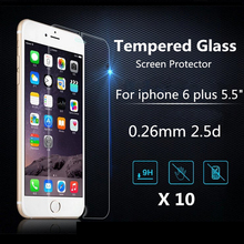 10 pcs for iPhone 6 6s Plus 9H Premium Explosion-proof Shatter proof Tempered Glass Screen Protector Film 0.26mm 2.5D 9H