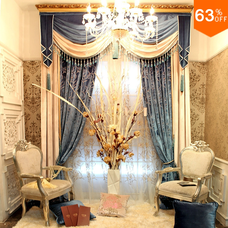 Golden and Silver luxurious Hook Hang style Living Room curtains for Restaurant Hall Valancer Blackout color gold palace Curtain(China (Mainland))