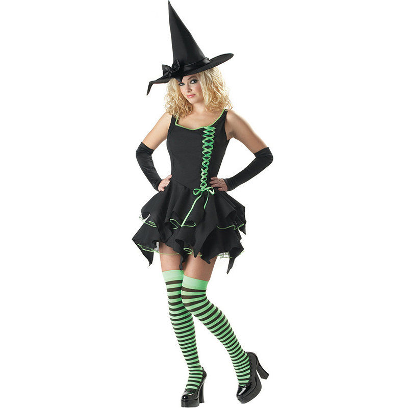 Deluxe Black Magic Witch Costume Adult Women Fantasia adulto Halloween Cosplay Disfraces Gothic Fancy Dress(China (Mainland))