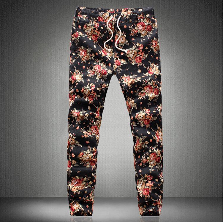 Flower Printed Pants Flowers Print Pants Mens