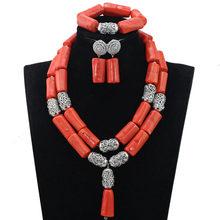 מקורי ניגרית המסורתית האפריקאי סט לקסמי נשים 2 שכבות חרוז אלמוגים אדום קורל חרוזים שרשרת עגילי סט ABH505(China)