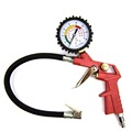 Motorcycle Bike Auto Handheld Tyre Tire Inflator Gun Chuck Air Pressure Gauge Red color