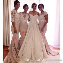 2016 Lace Mermaid Bridesmaid Dresses Long Sleeves Zipper Satin Formal Wedding Party Dresses Bridesmaids Gowns B26(China (Mainland))
