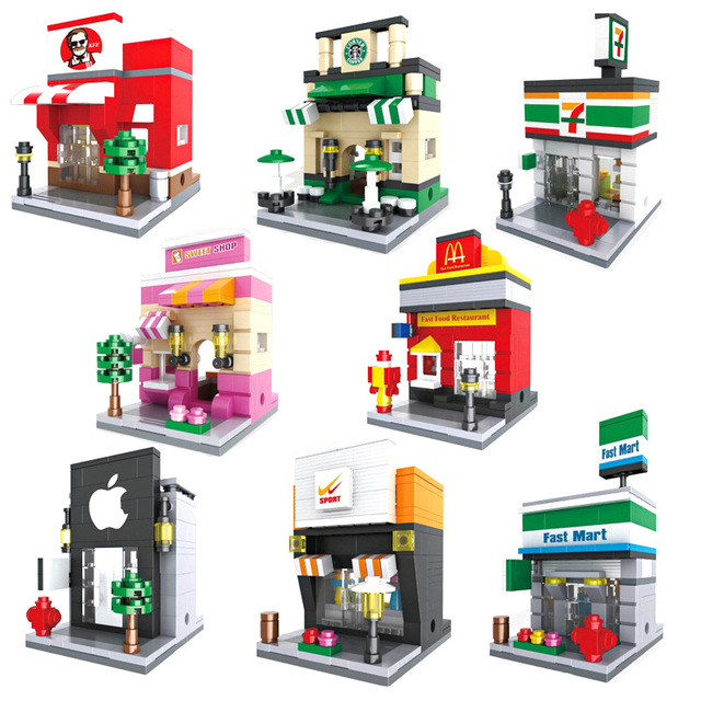 HSANHE Street View with Human Figures Nano Block Models Mcdonald's Starbucks Apple Store toys Compatible with Lego Lepin(China (Mainland))