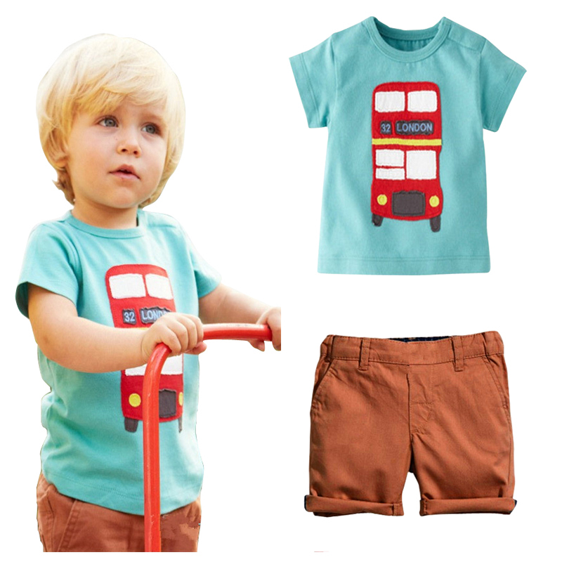 Baby Boys Sets T shirt + Pant Short sleeve Summer Leisure Boys Sets suit Children' clothing Car Printed Fashion Kids Set 2~6 T(China (Mainland))