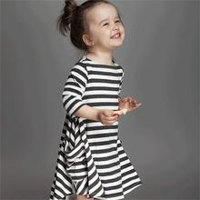 Casual Long Sleeve Girls Striped Dress 2015 New Autumn Cotton Children Baby Clothing Toddler Girl Clothes Kids School Wear Dress(China (Mainland))
