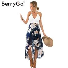 Buy BerryGo Casual summer style beach lace backless dress Fashion sleeveless deep v neck women dresses Sexy slit print dress 2017 for $13.99 in AliExpress store