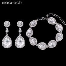 Mecresh Crystal Bridal Jewelry Sets Silver Plated Teardrop Bridal Bracelet Earrings 2017 Wedding Jewelry for Women SL051+EH070(China (Mainland))