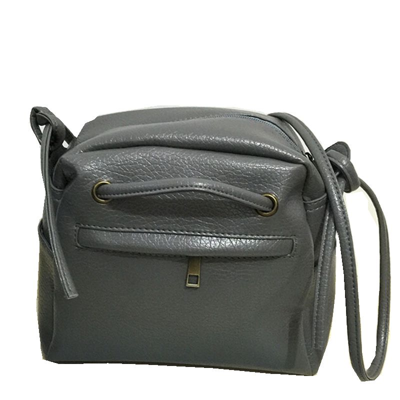 Size 21*19*8 cm Gray Black Color Washed Leather Women Messenger Bags Casual Handbag High Quality Crossbody Bag Simple Style(China (Mainland))