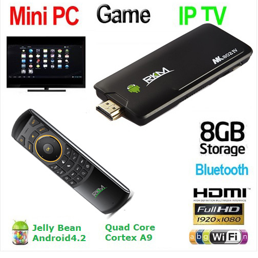 Rikomagic MK802 IV Tv Box Android 4.2 Quad Core RK3188 2GB/8GB A9 1.8GHz MINI PC TV + MK705(China (Mainland))