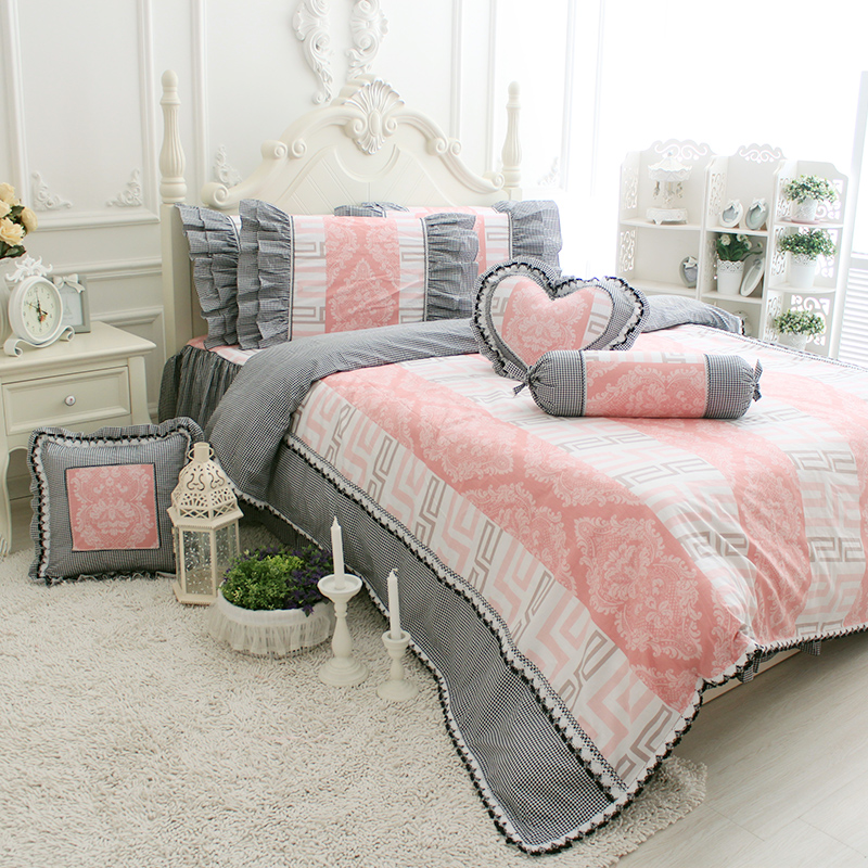 grey ruffle comforter promotion shop for promotional grey ruffle comforter on. Black Bedroom Furniture Sets. Home Design Ideas