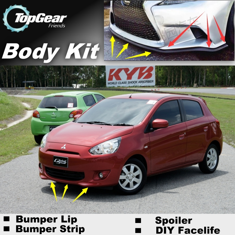 Bumper Lip Deflector Lips For Mitsubishi Mirage Attrage Space Star For Dodge Attitude Front Spoiler Skirt For Tuning / Body Kit<br><br>Aliexpress