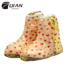 QIAN RAINPROOF 2016 New Fashionable Printing PVC Rain Shoes Covers Children Thicken Non-slip Portable Overshoes Waterproof Boots