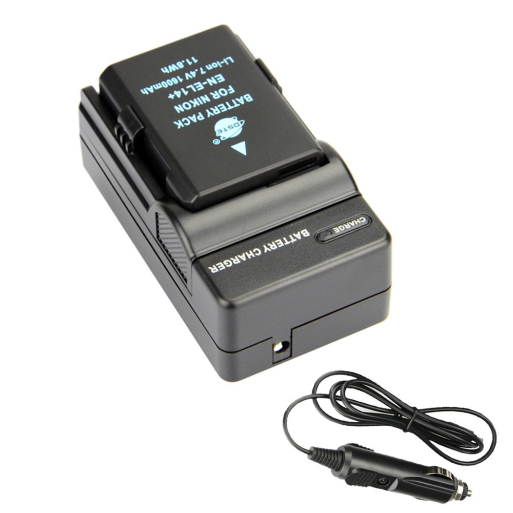 DSTE EN-EL14 + DC111 Travel and Car Charger Adapter for Nikon D3100 D3200 D5100 D5200 D5300 D5500 DF P7000 Digital Camera(Chi