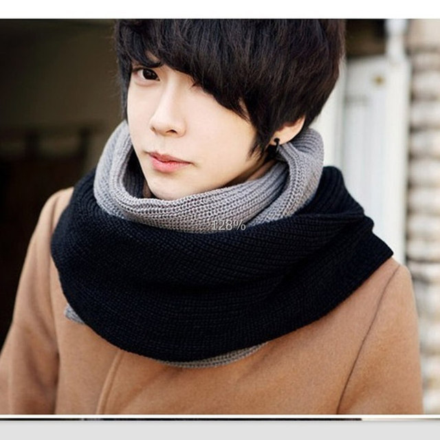2013 new men's long wool scarf Korean couple tide warm winter scarves mixed colors thicker collars JMS005