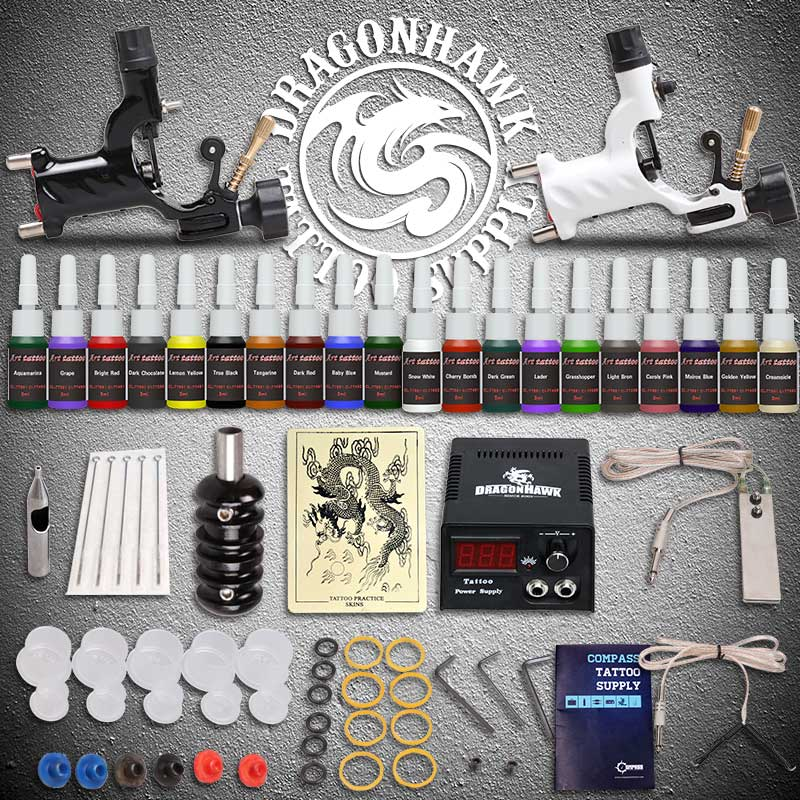 Beginner tattoo starter kits 2 rotary tattoo machines guns for Starter tattoo kits
