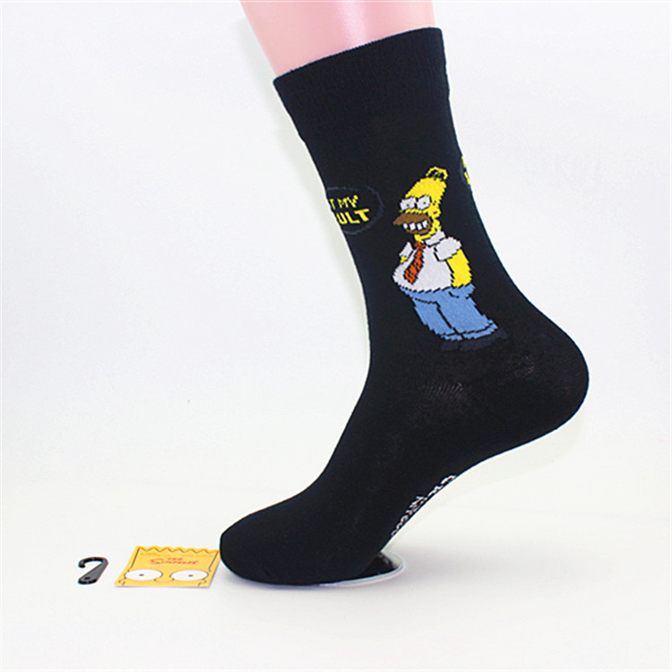 Personalized Combed Cotton Simpsons Cartoon Medium Height Socks for Men or Women Simpson Meias Men s