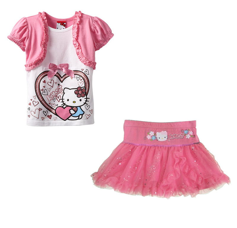 wholesale boutique girl summer infant hello kitty cheap china pink clothing set children girls red ski suit skirt top set(China (Mainland))