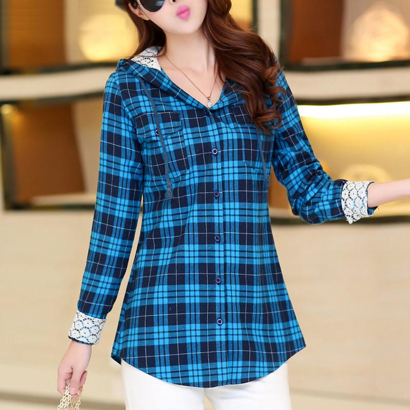 Hot new plaid shirt women slim fit hooded check plaid for Flannel plaid shirts for women