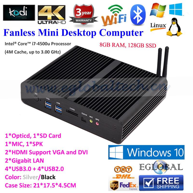 Eglobal Fanless Mini pc Barebone Nettop core i7 4500u 3D 4K HD Streaming PC HDMI USB3.0 Port Up ACPI Black Alloy Case USB3.0(China (Mainland))