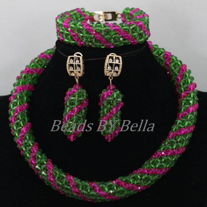 Well Made Crystal African Wedding Jewelry Sets Green Nigerian Beads Necklace Indian Bridal Jewelry Sets Free Shipping ABK027(China (Mainland))