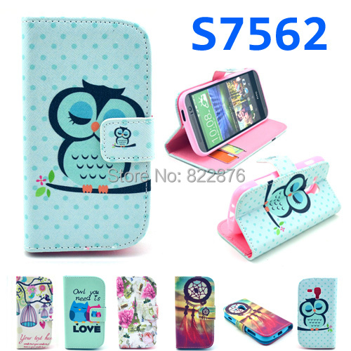 Beautiful Bird Tower Bowknot Flower Leather Wallet Case for Samsung Galaxy S Duos s7562 Galaxy S Duos 2 S7582/Trend Plus S7580(China (Mainland))