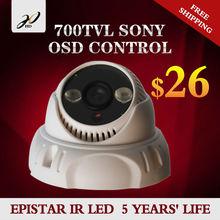 HD 20318S IR Dome security 1/3″ Sony Effio CCD cctv camera 700TVL OSD menu IR 30m ABS case IR zoom camera 3.6mm Free Shipping