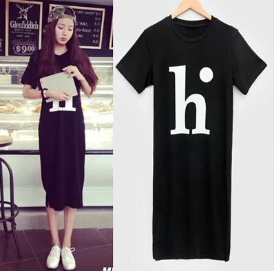 New Fashion Ladies Elegant Letters H Black Dress Sport