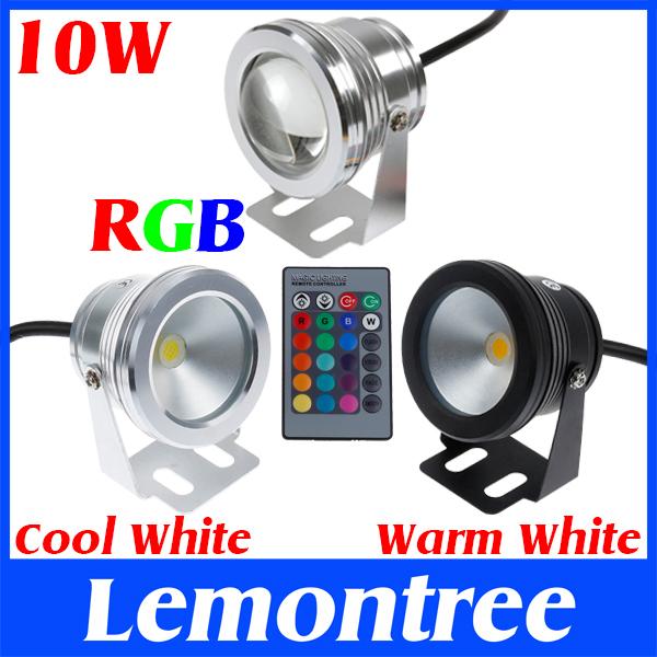10W 12V RGB Cool White Warm White LED Underwater Light Lamp IP68 Diving Flashlight For Swiming Pool Piscina Aquarium Fountain(China (Mainland))
