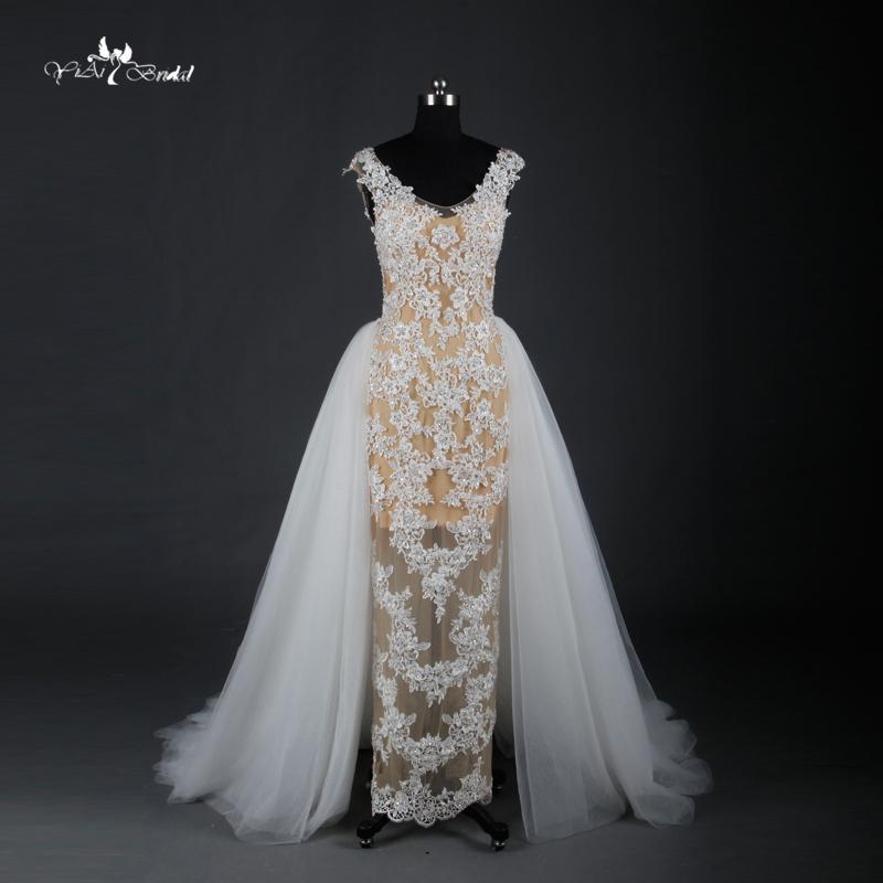 Buy sheath wedding dresses gorgeous shiny for Mermaid wedding dress with detachable train
