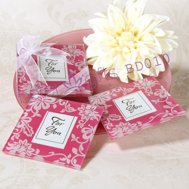 Wedding Gift Ideas Delivery : Shipping 100pcs=50box Spring Themed Glass Coaster BD010 Wedding Gift ...