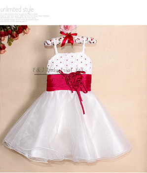 2015 Ready Stock Girl Dresses Fashion Princess Wear White With Red Rose Belt Christmas Costumes for Kids Clothing GD21029-08^^EI