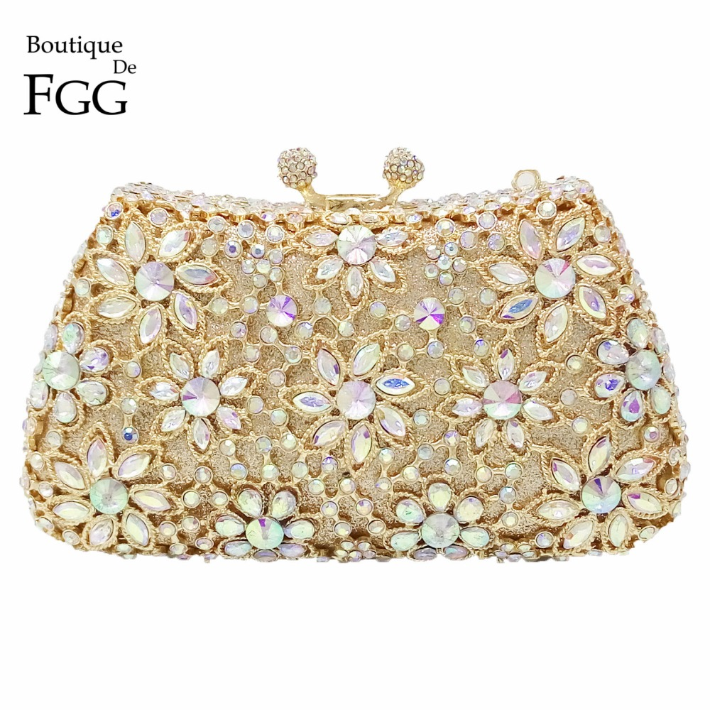 Socialite Women's Gold Plating AB Crystal Flower Evening Bags Wedding Party Bridal Handbags Purse Metal Clutches Shoulder Bags(China (Mainland))