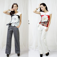 2013 summer vintage women's clothing cheap Real pictures with model RIP   lacing linen wide leg pants trousers 1225(China (Mainland))
