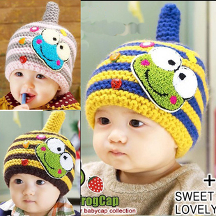 5colors Free shipping winter cartoon frog children hats baby pocket beanie boy earflap girl skullcap retail Lc13082904