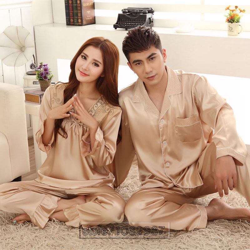 2016 Spring Summer Autumn Chinese Satin Silk Pajamas Set of Sleepshirt & Pants Couple Sleepwear Lover Nightdress & Home Clothing(China (Mainland))