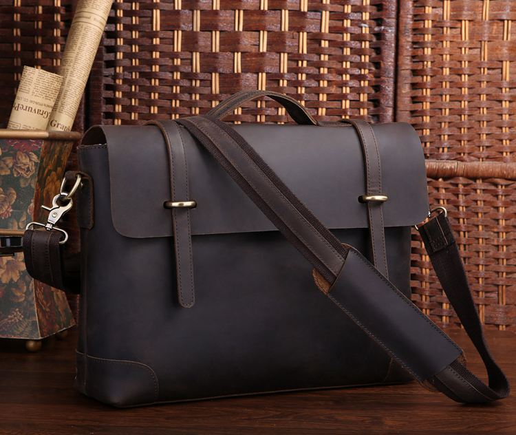 High Quality Dark Brown Vintage Genuine Leather Crazy Horse Leather Men Messenger Bags 15.6 Laptop Briefcase #MD-J7082<br><br>Aliexpress