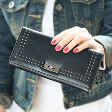 New arrival 2015 fashion women wallets retro rivet three fold large capacity lady long wallet coin purse(China (Mainland))