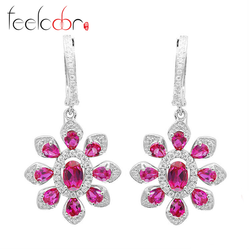 4.22ct Pigeon Blood Red Ruby Flower Wedding Drop Earrings Dangle Fashion Jewelry 925 Solid Sterling Silver Best Gift For Women<br><br>Aliexpress